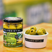 Fiery Jalapeño Stuffed Olives – Jar 150g