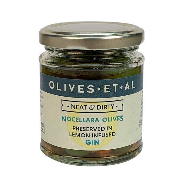Neat & Dirty Olives – Preserved in Lemon Infused Gin - Jar 165g
