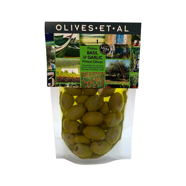 Pistou Basil & Garlic Olives – Chiller friendly olive pouch 240g