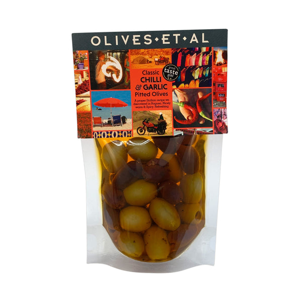 Classic Chilli & Garlic Olives –  Chiller friendly olive pouch 240g