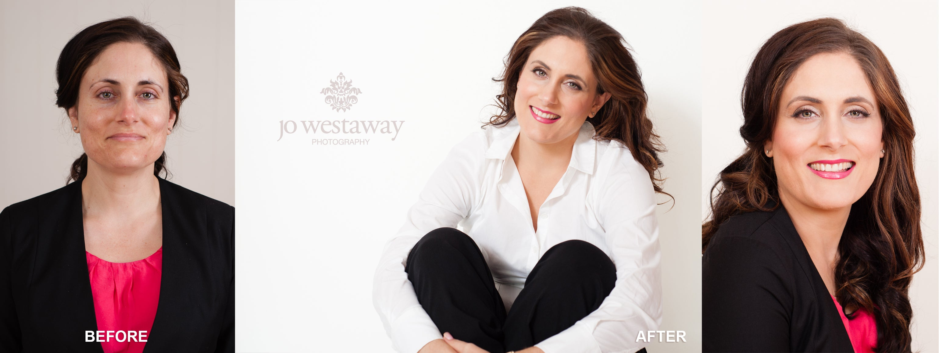 Before and after headshot photos - Jo Westaway Photography - brand portraits for business women