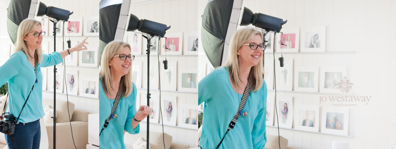 Jo Westaway in the studio photographing business owners