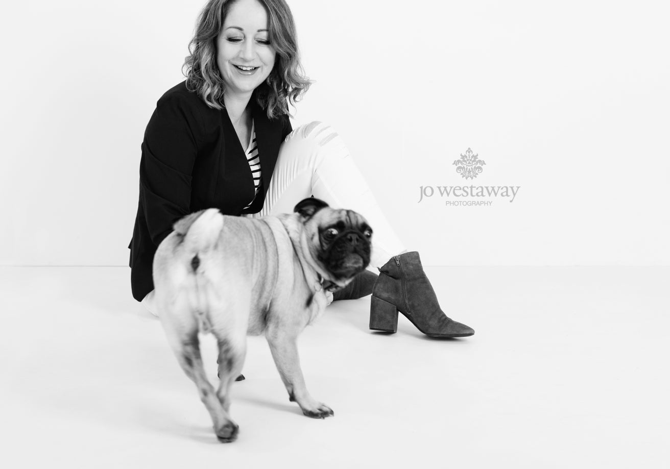 Behind the scenes personal branding photography session - with a dog