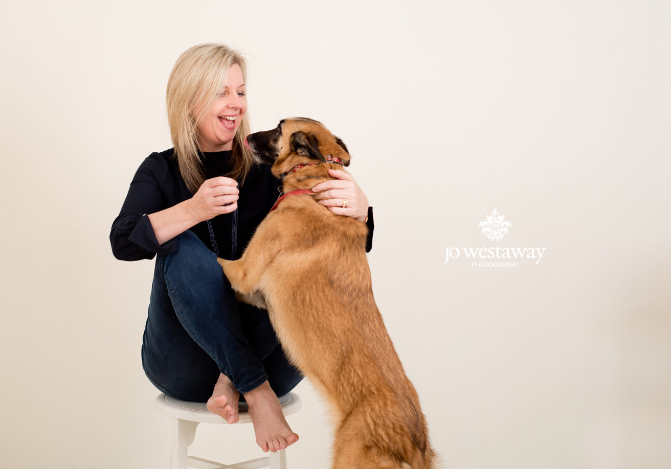 The dog photo bombs - behind the scenes personal brand photos