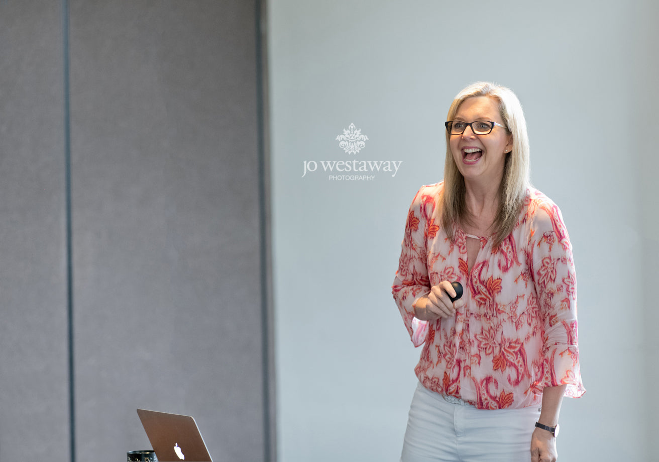 Jo Westaway speaking in Brisbane on being more visible and personal brand & headshot photos