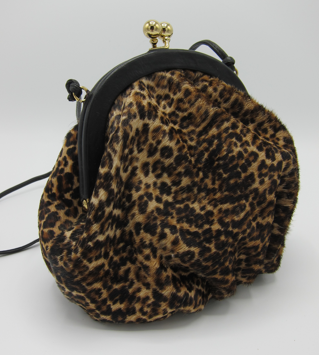 vintage leopard print calf hair cross-body bag