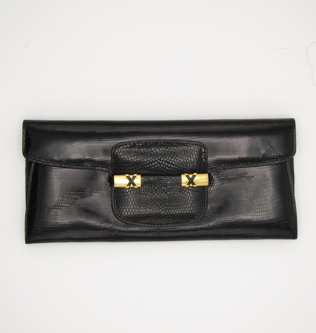 vintage patent leather embossed lizard wallet