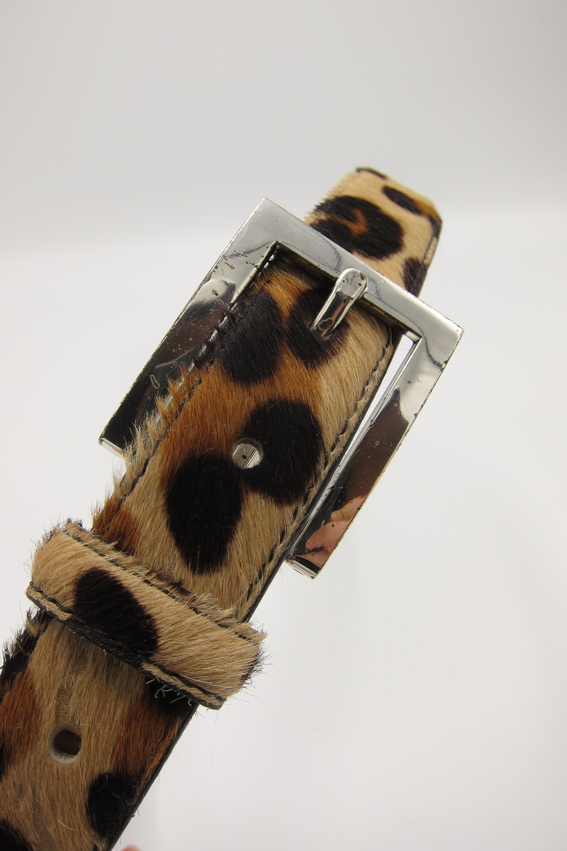 vintage calf hair animal print belt