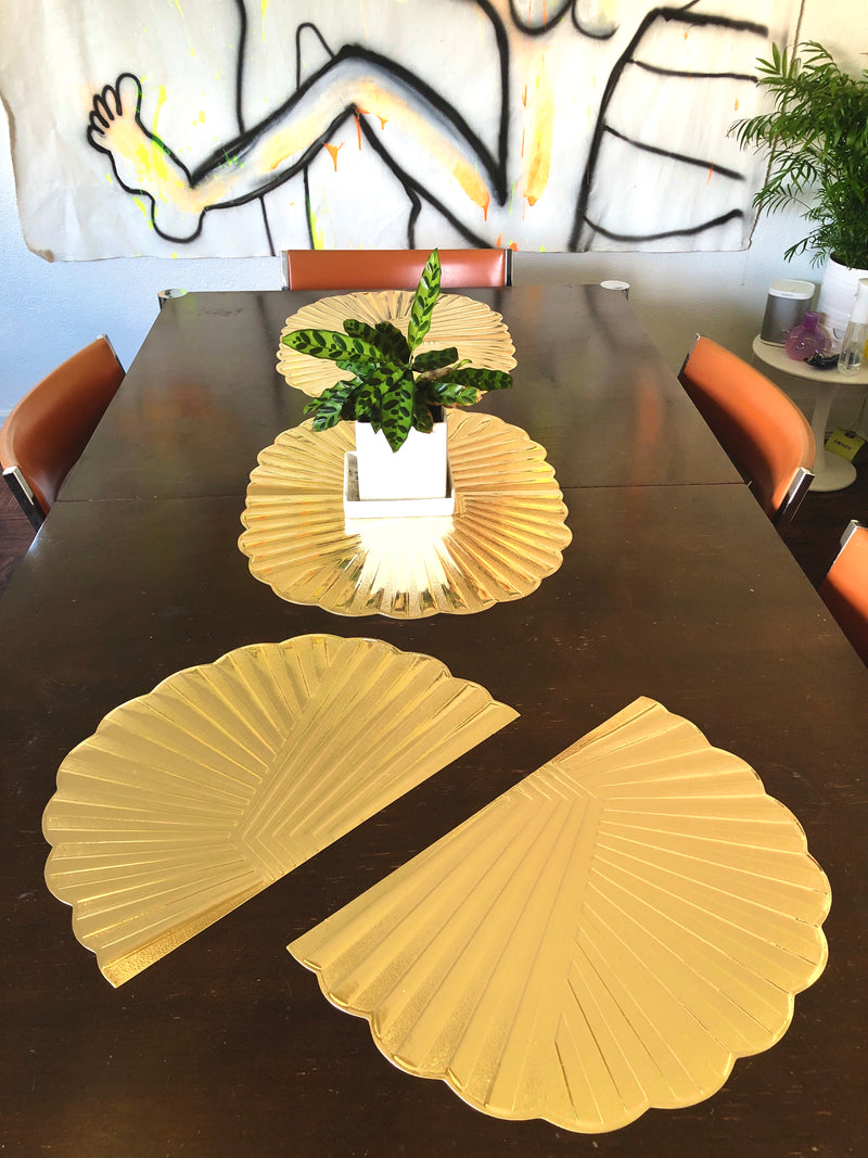 Vintage 80s Deco Metallic Gold Placemats