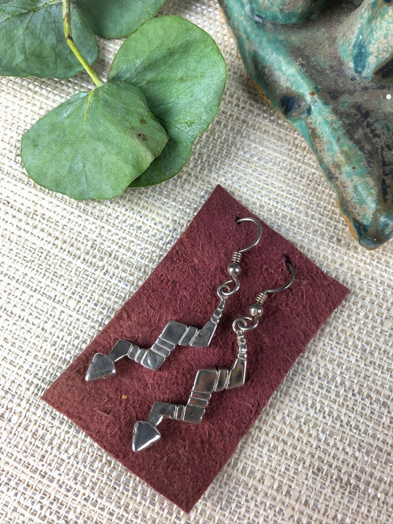 Vintage Modernist Snake Earrings