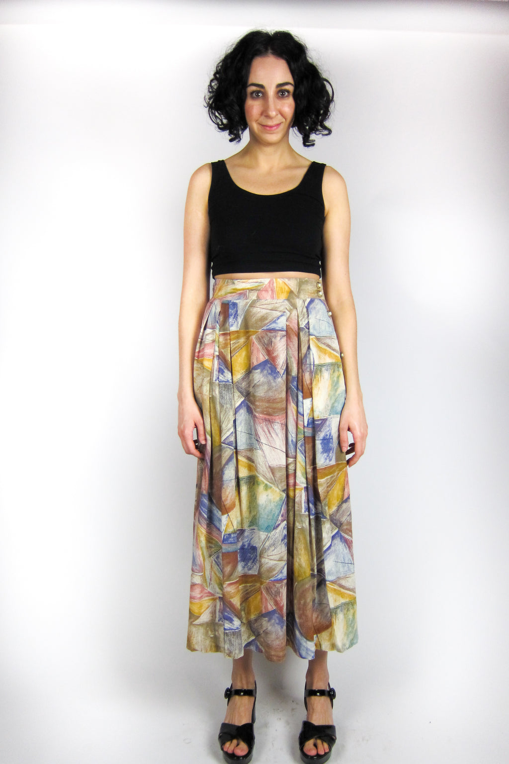 Vintage Graphic Print Skirt