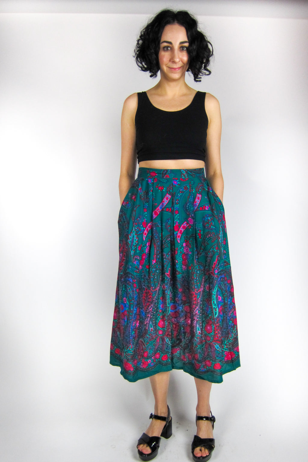 Vintage Pink + Emerald Floral Paisley Pleated Skirt
