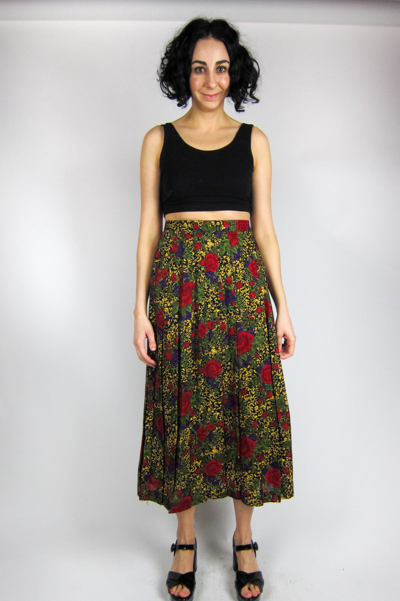 Vintage Rose and Violet Pleated Skirt