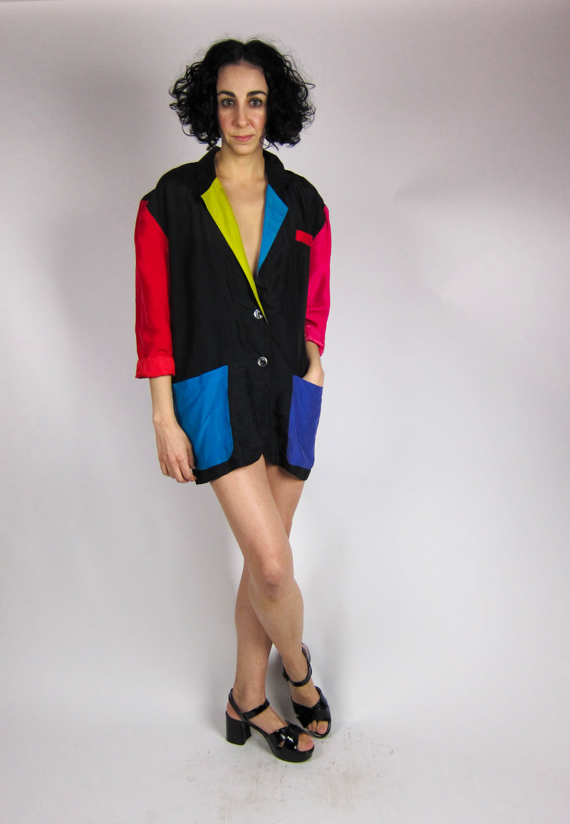 Vintage Oversized Silk Colorblock Blazer