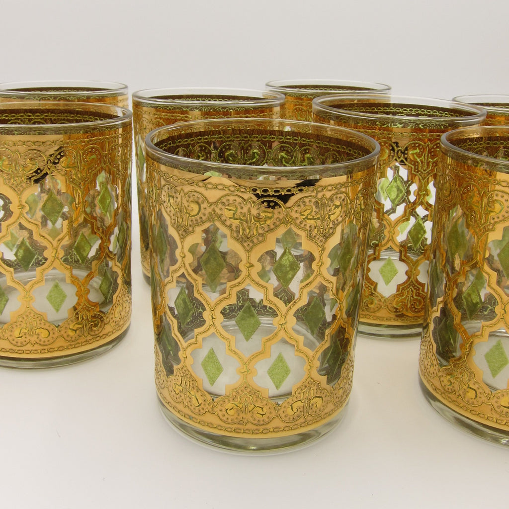 vintage mid-century hollywood regency 22k gold embossed cuver rocks glasses