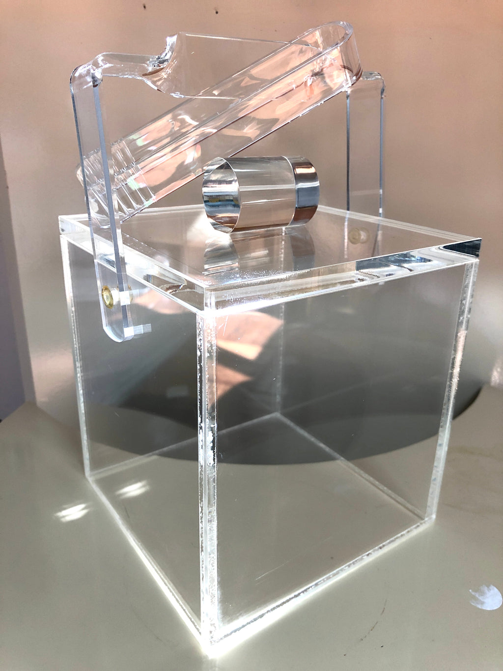 Vintage Lucite Cube Ice Bucket