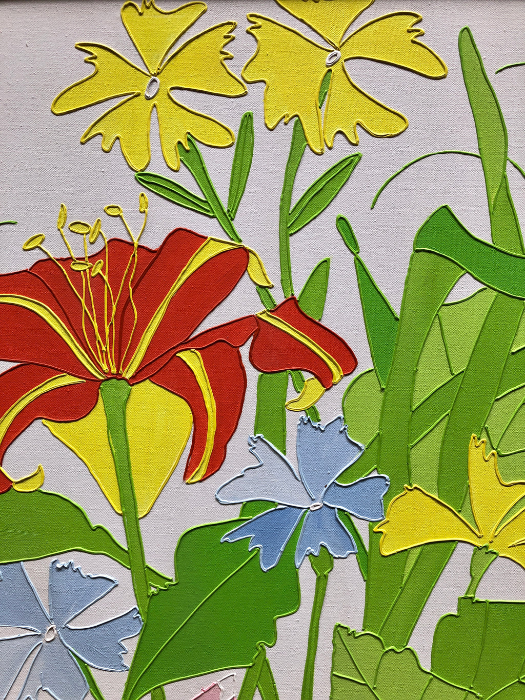 Vintage 1970s Floral Painting by Shari Hatchett Bohlmann