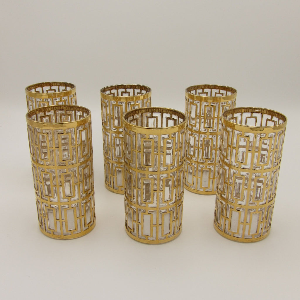 Vintage mid-century hollywood regency 22k gold plated shoji trellis glasses imperial glassware