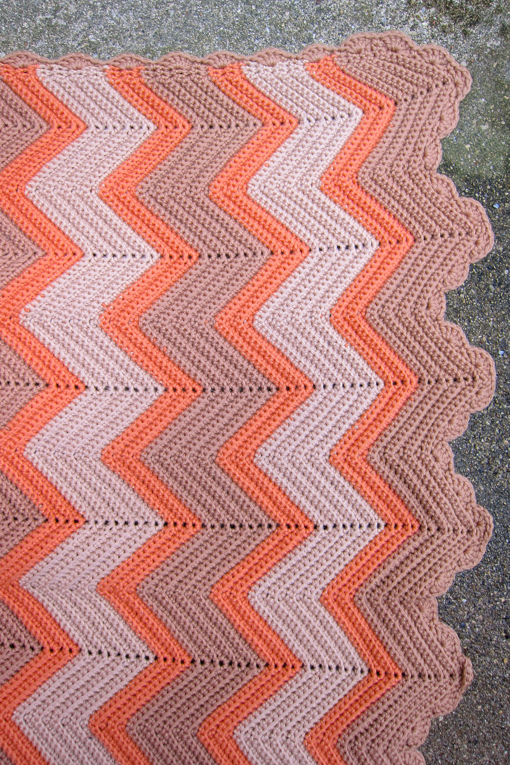 Vintage Coral + Taupe Chevron Blanket