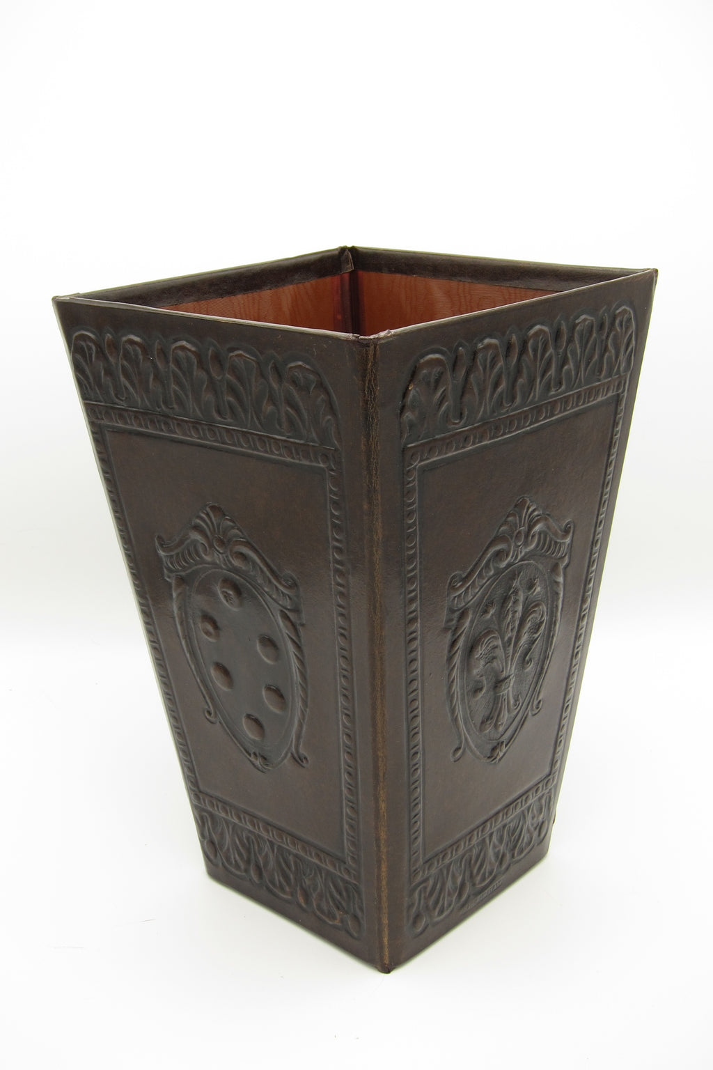 Vintage Florentine Leather Waste Basket - Dark Brown