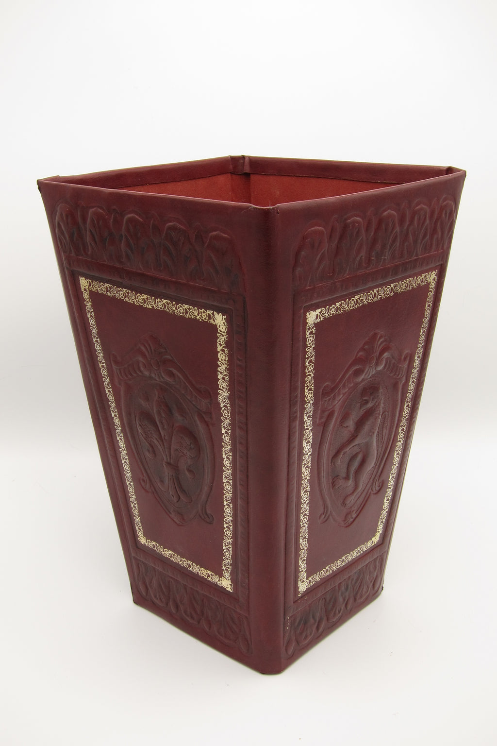 Vintage Florentine Leather Waste Basket -Red and Gold