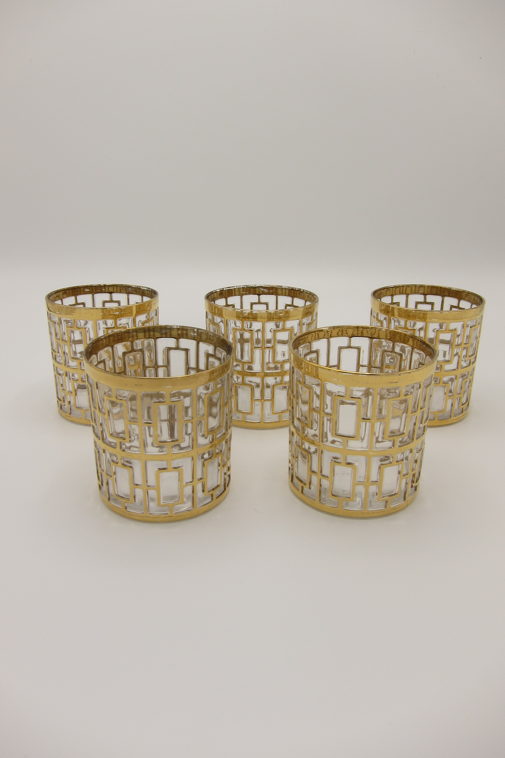 Vintage 22k Gold-Plated Shoji Trellis Rocks Glasses Imperial Glassware