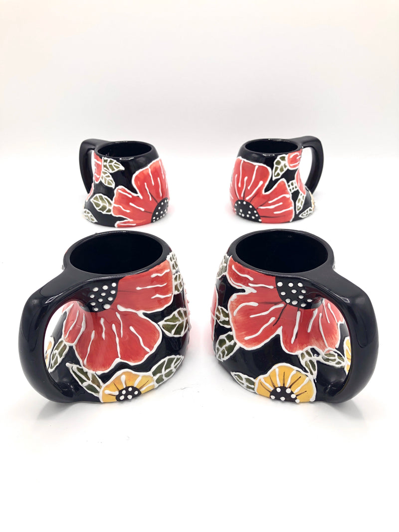 Vintage Black Floral Ceramic Mugs