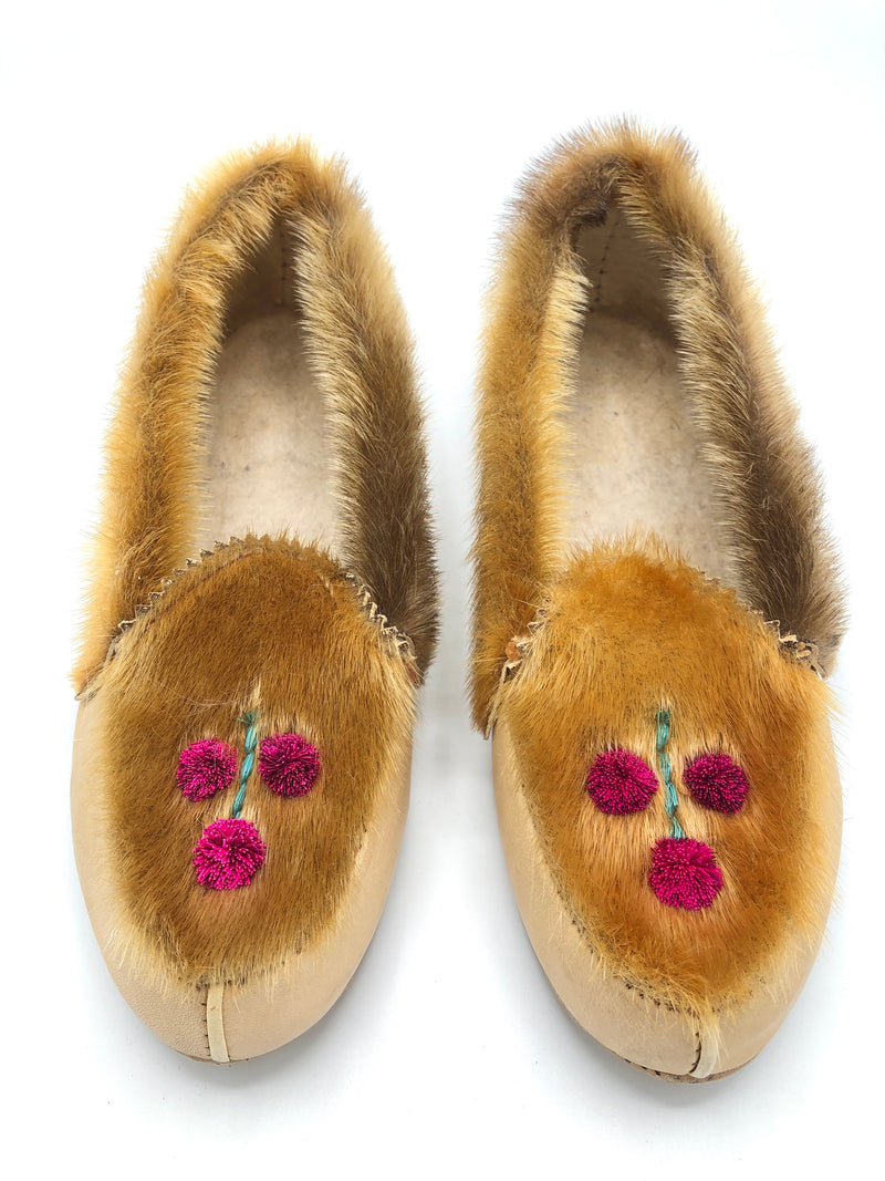 Vintage Fur + Leather Moccasin Slippers