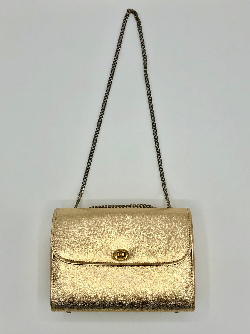 Vintage Gold Metallic Box Purse