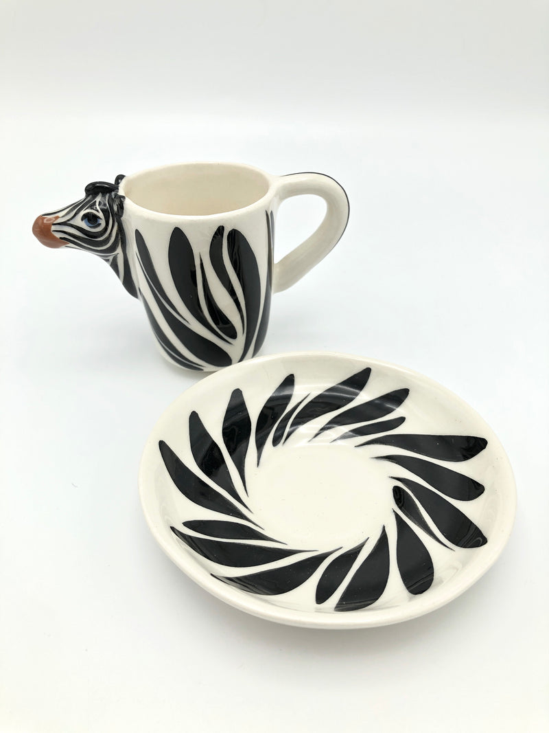 vintage postmodern memphis era zebra tea set by Tom Hatton