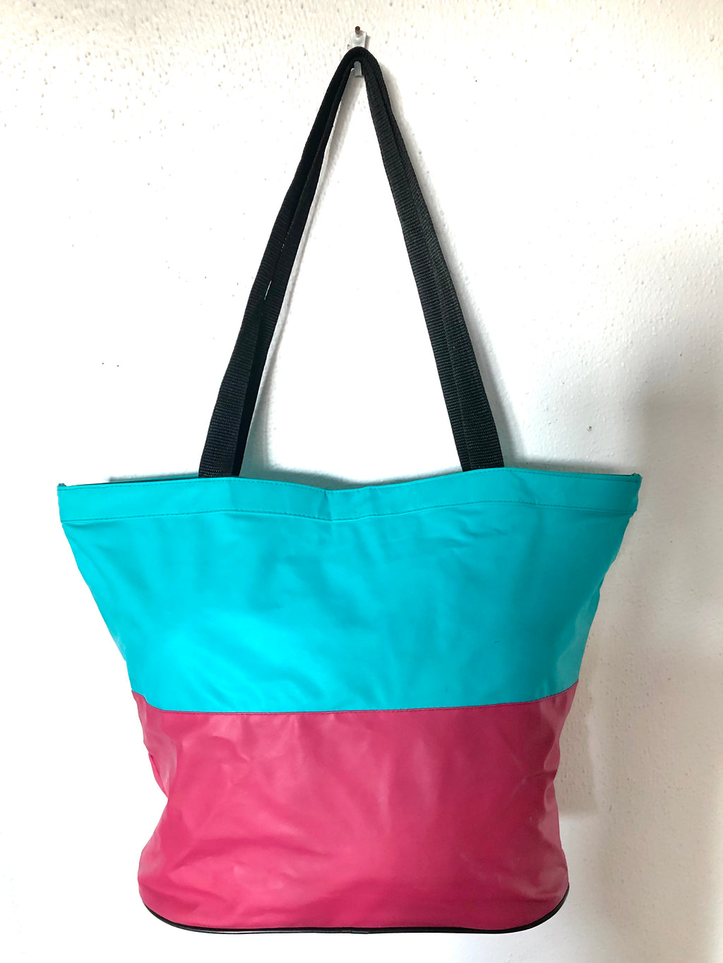 Vintage 1980s Clock Tote Bag - Pink, Yellow, Teal