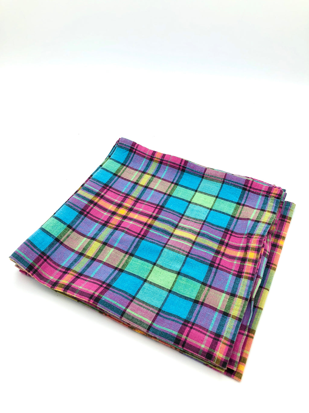 Vintage Bright Plaid Cloth Napkins