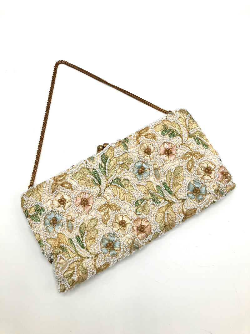 Vintage Beaded and Embroidered Floral Bag