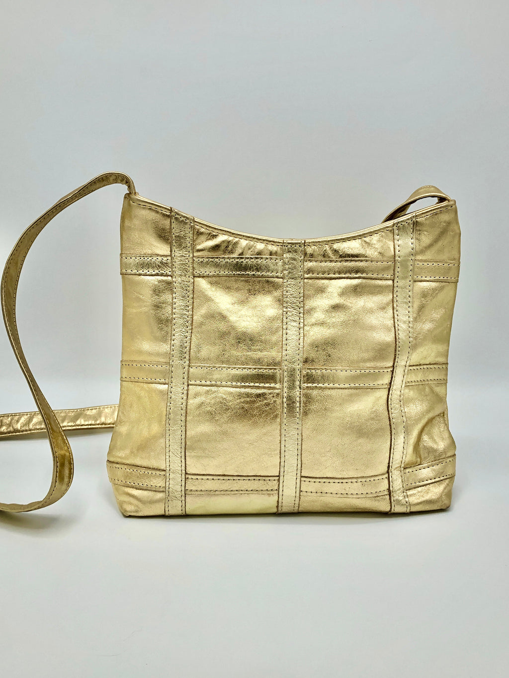 Vintage Gold Metallic Genuine Leather Purse