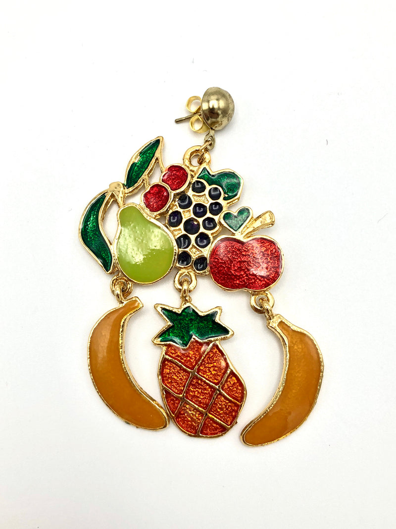 Vintage Enameled Fruit Earrings