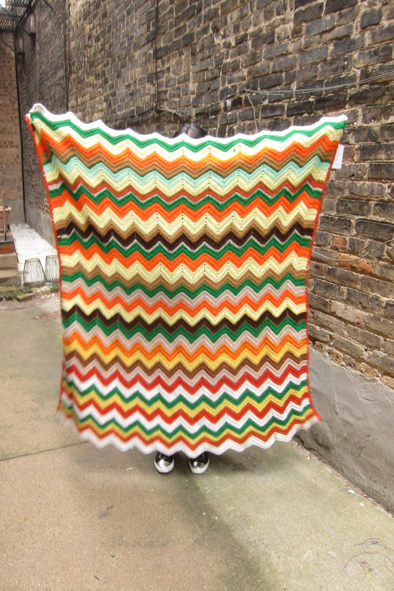 Vintage orange green red yellow brown chevron blanket
