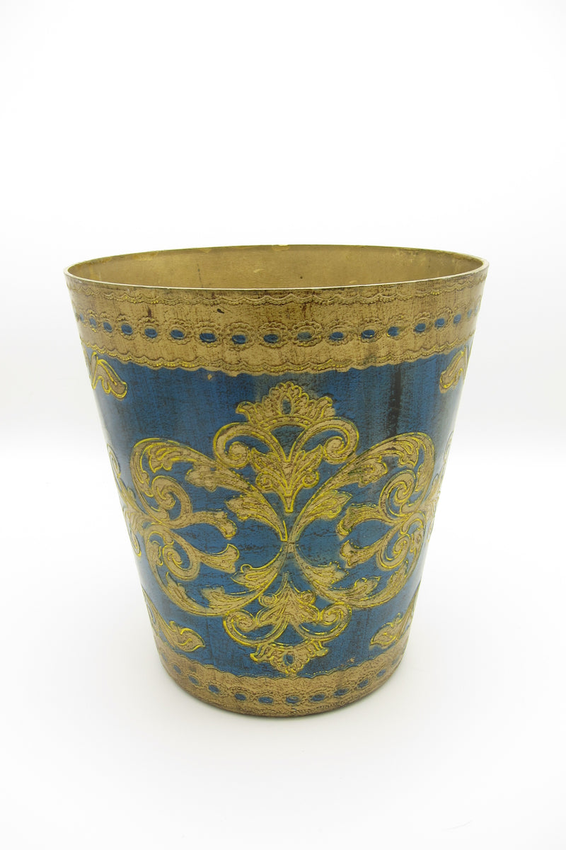 vintage blue gold florentine waste basket