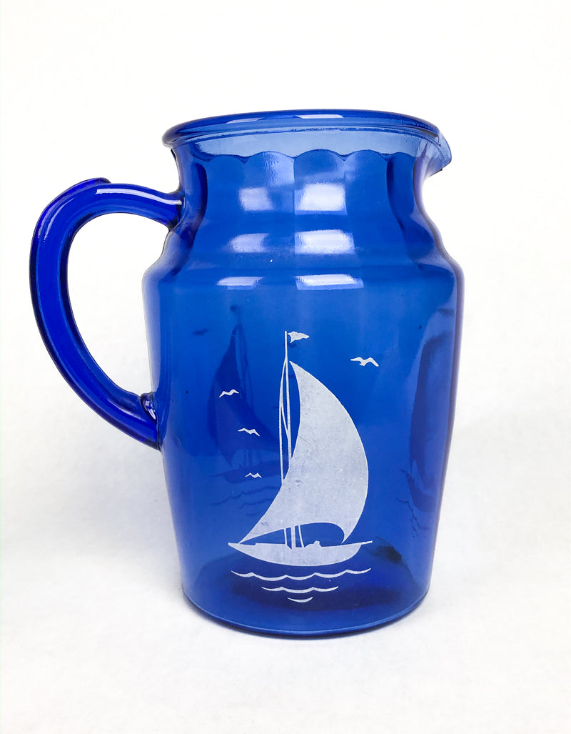Vintage 1930s Hazel Atlas Sailboat Pitcher & Glass Set