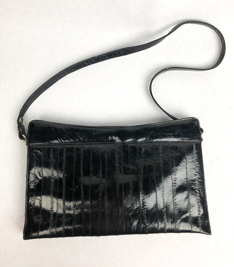 Vintage Black Eel Skin Bag