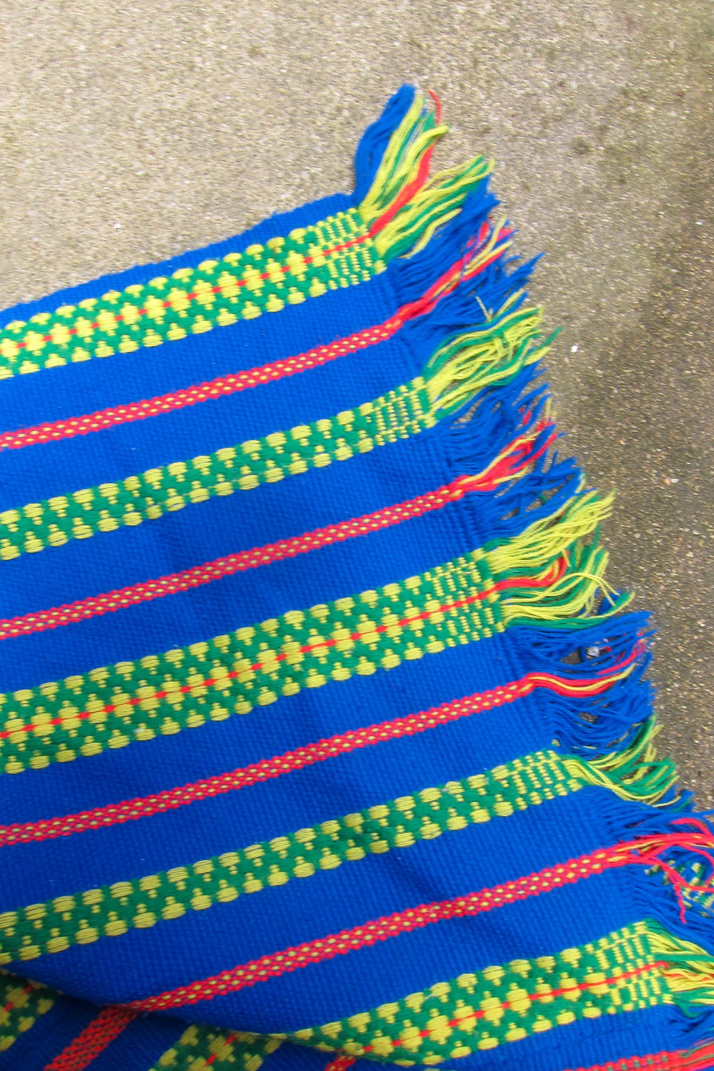 vintage blue and neon green blanket