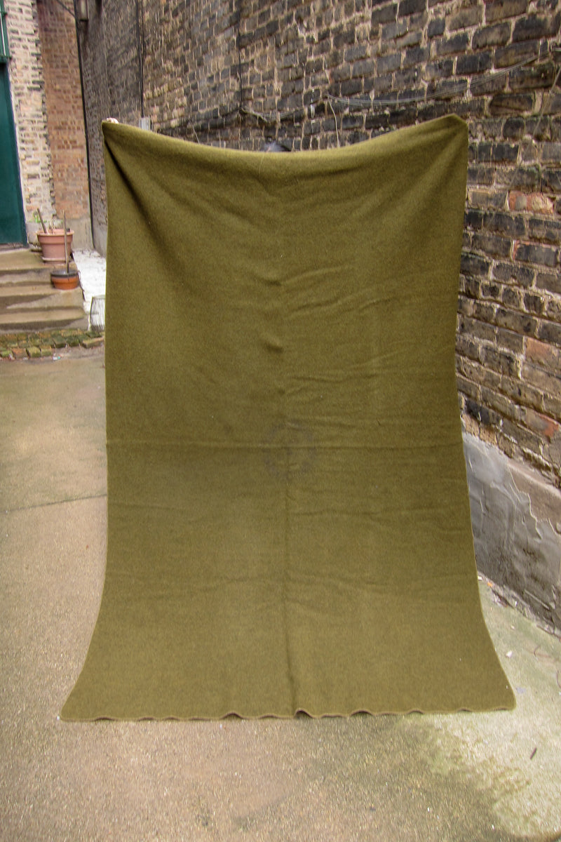 Vintage Army Green Wool Boy Scouts of America National Council Blanket