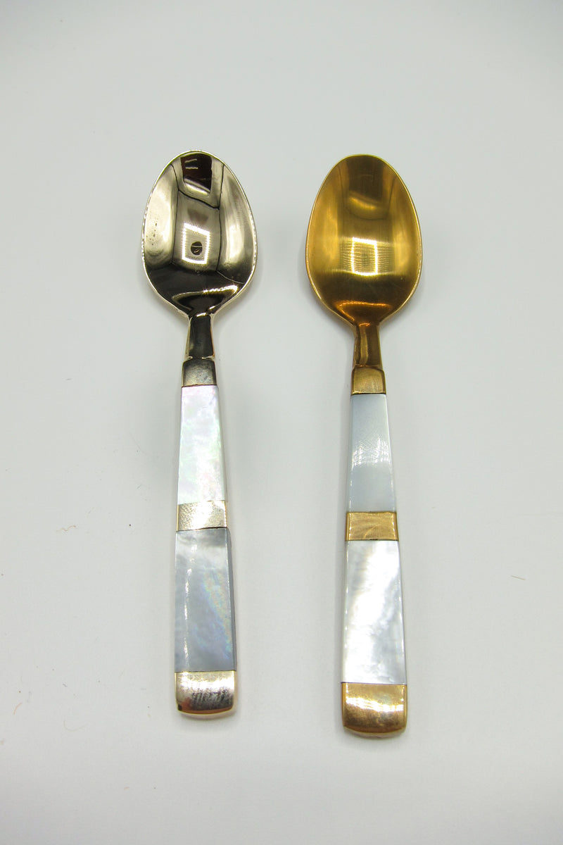 Bronze + Mother of Pearl Demitasse Spoons