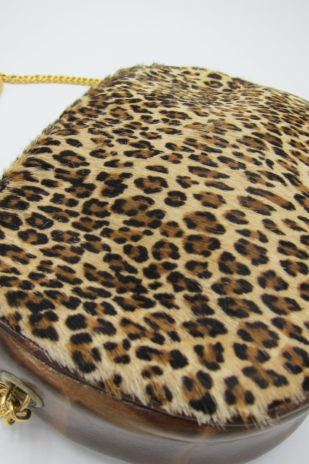 Vintage Calf Hair Leopard Print Purse with Chain Strap