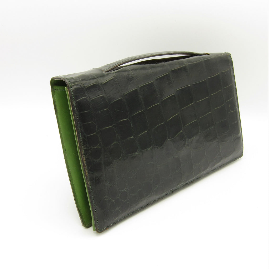 vintage green alligator bag clutch