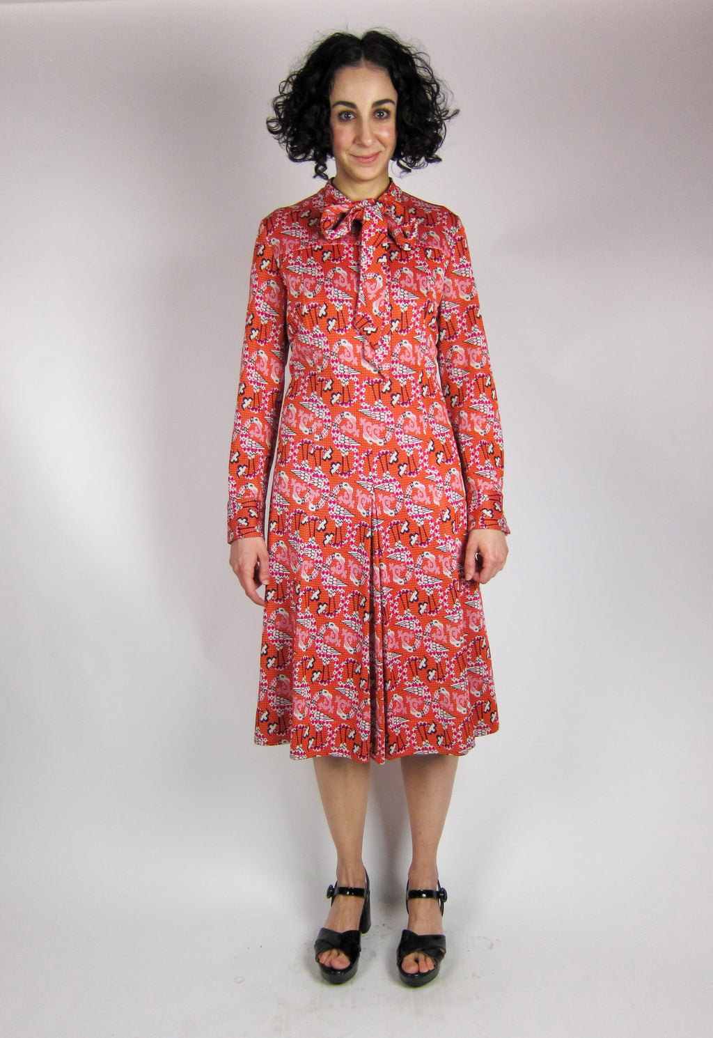 Vintage Flamingo Print Dress