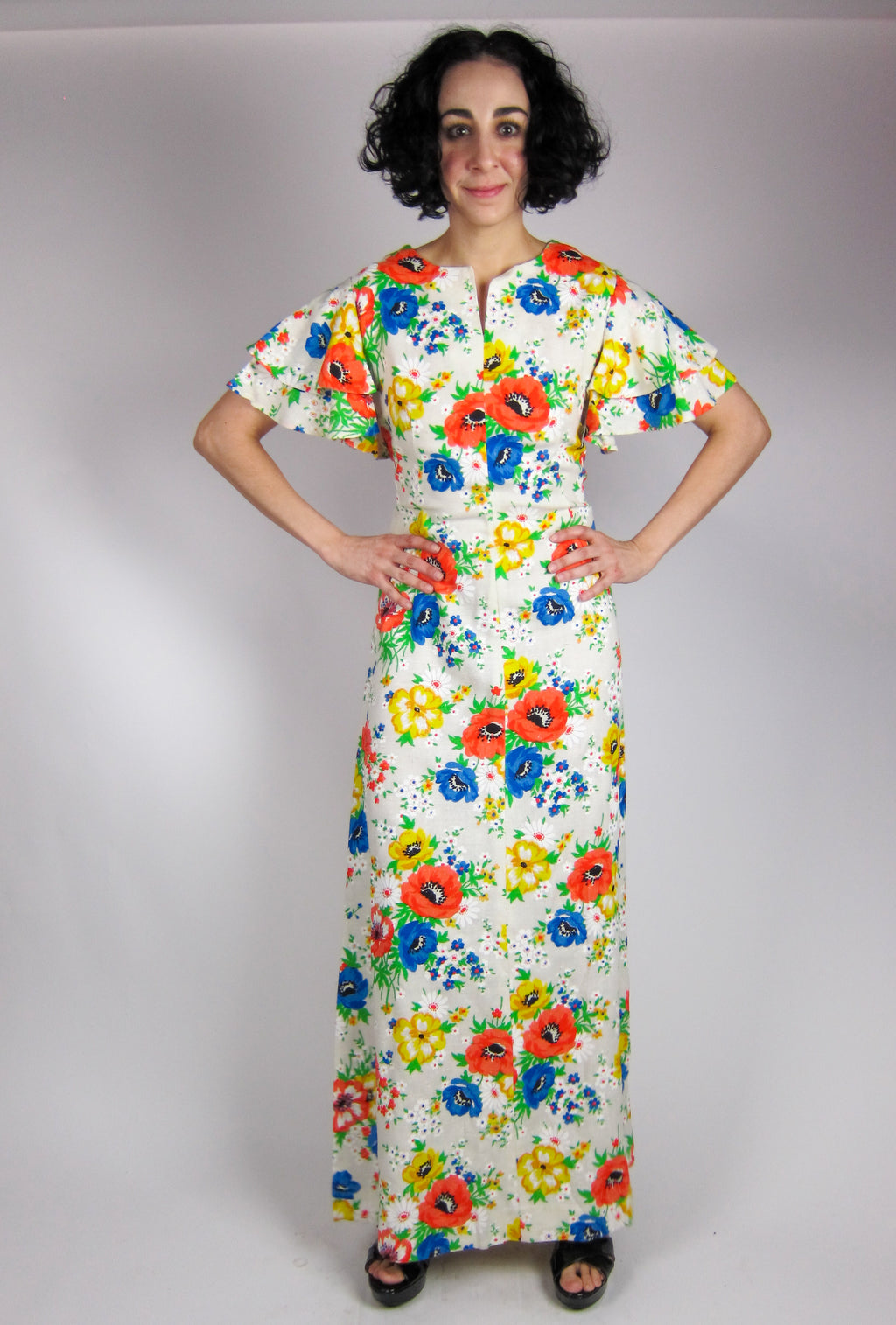 Vintage Ruffle Sleeve Floral Maxi Dress