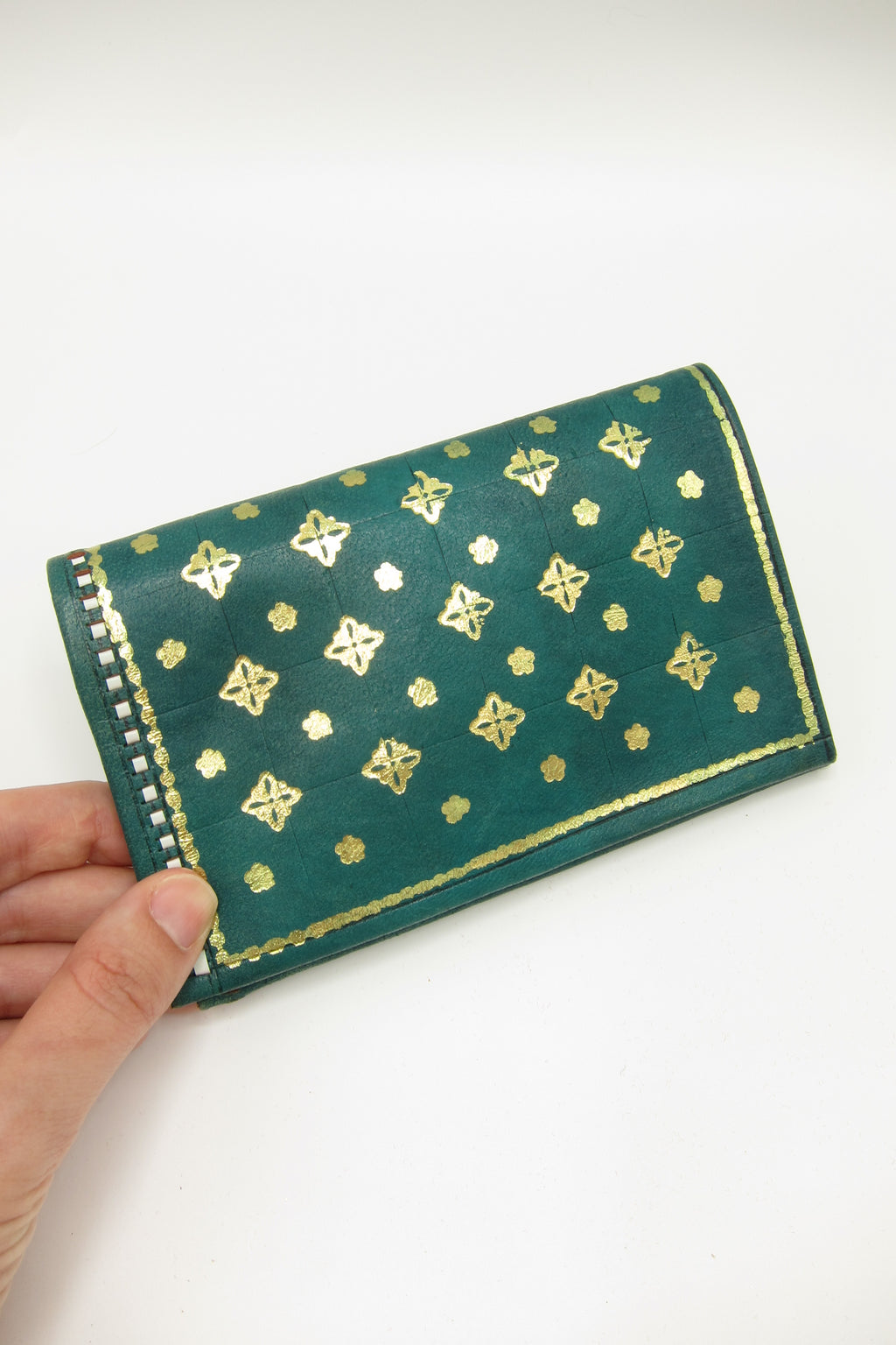 Vintage Florentine 22K Gold Accented Leather Wallet - Green