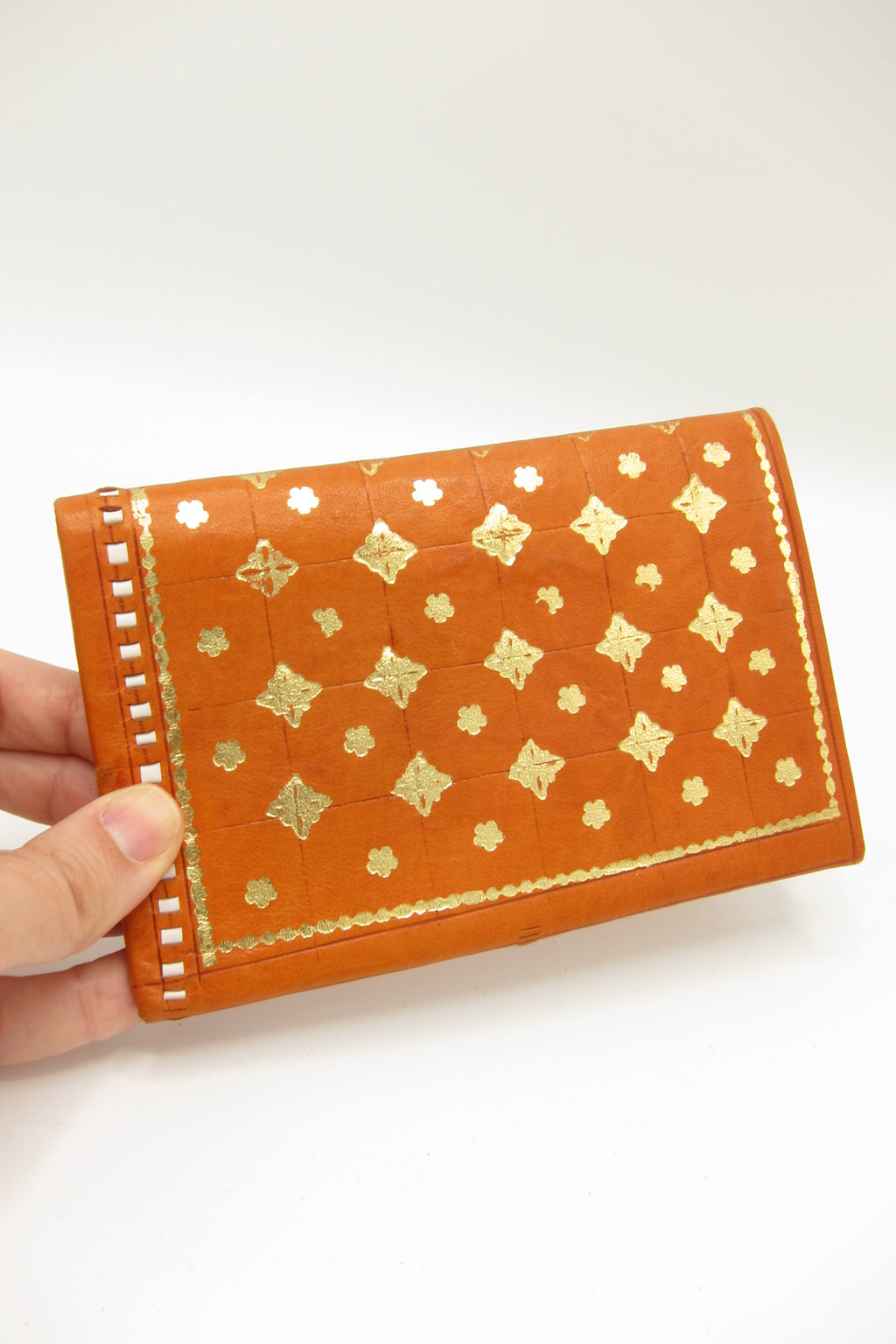 Copy of Vintage Florentine 22K Gold Accented Leather Wallet - Orange