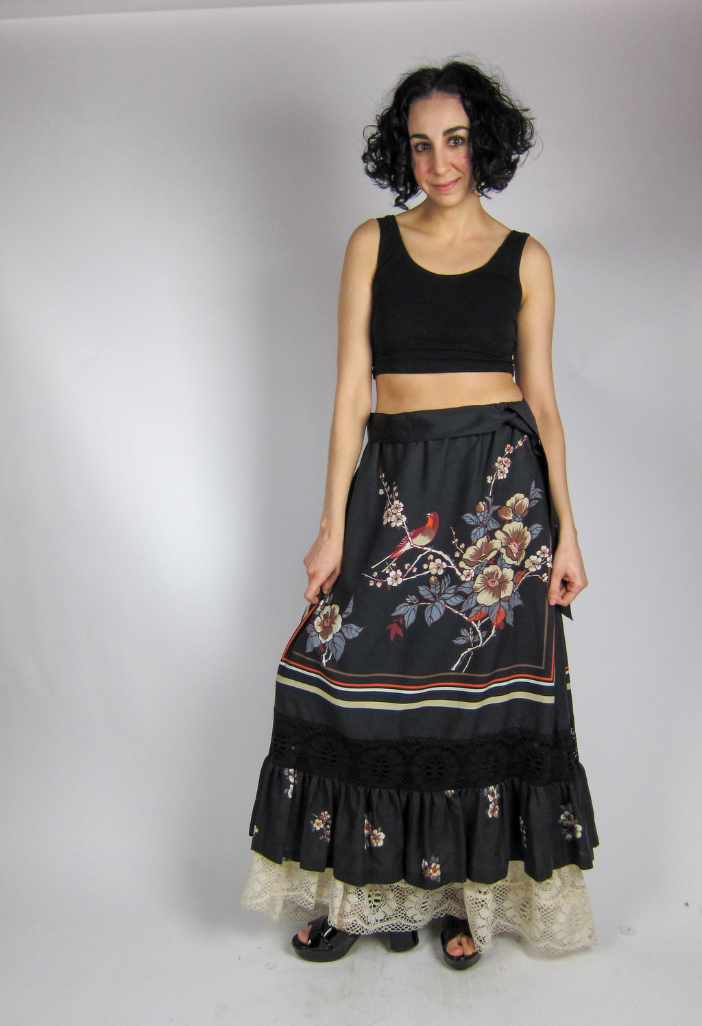 Vintage Romantic Floral and Lace Maxi Skirt