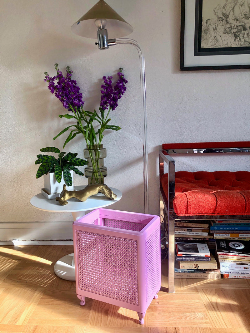 Vintage Lilac Cane Magazine Holder
